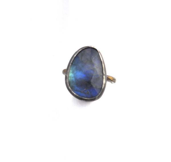 ring / ring FREEFORM LABRADORITE STACKING