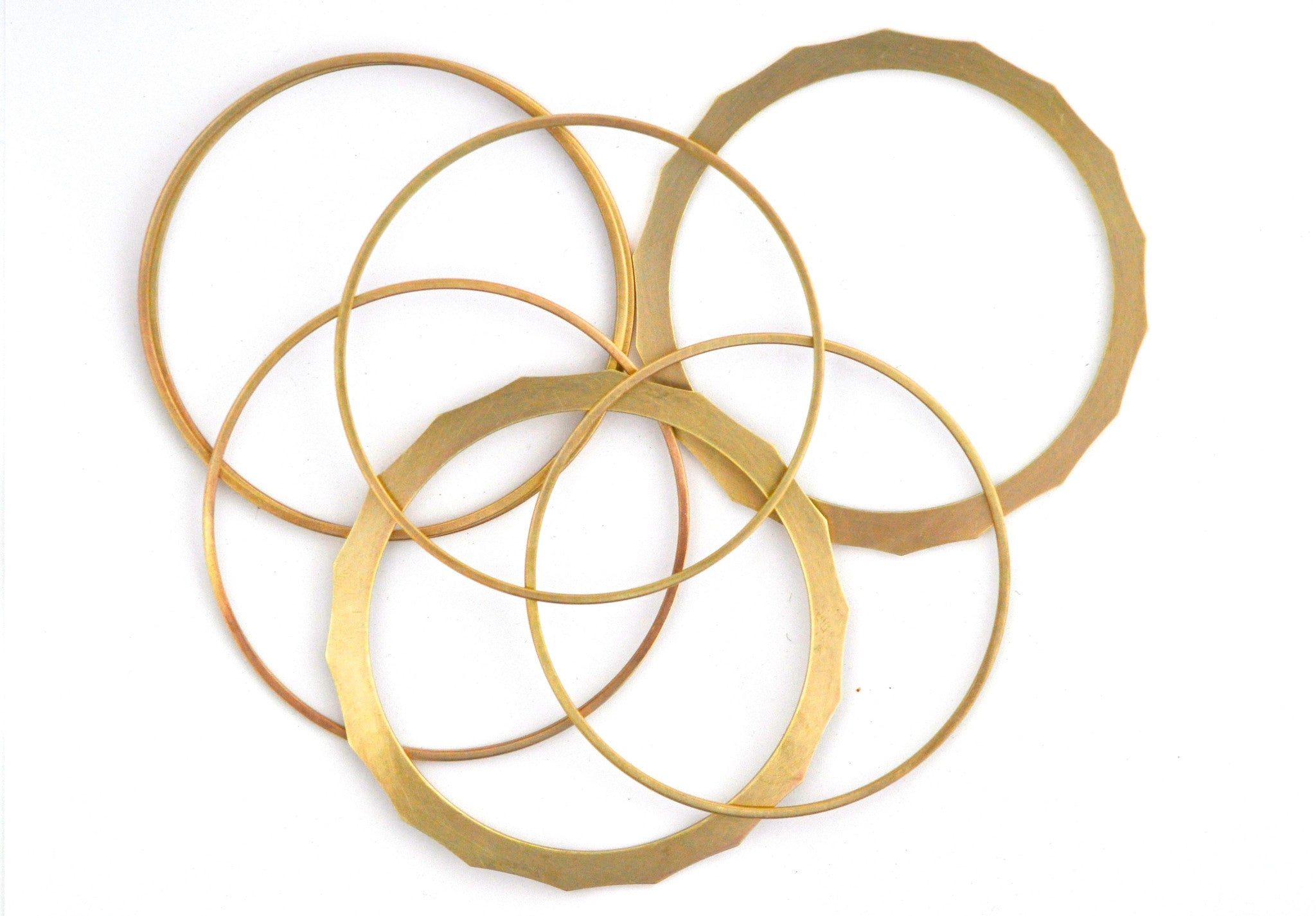 bracelet / brass set of 2 thin 2mm bangles