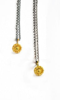 necklace / gold 22k tiny granulated rosette + oxidized silver chain