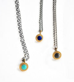 necklace / gold 22k bezel set + cabochon gemstone pendant + oxidized silver chain