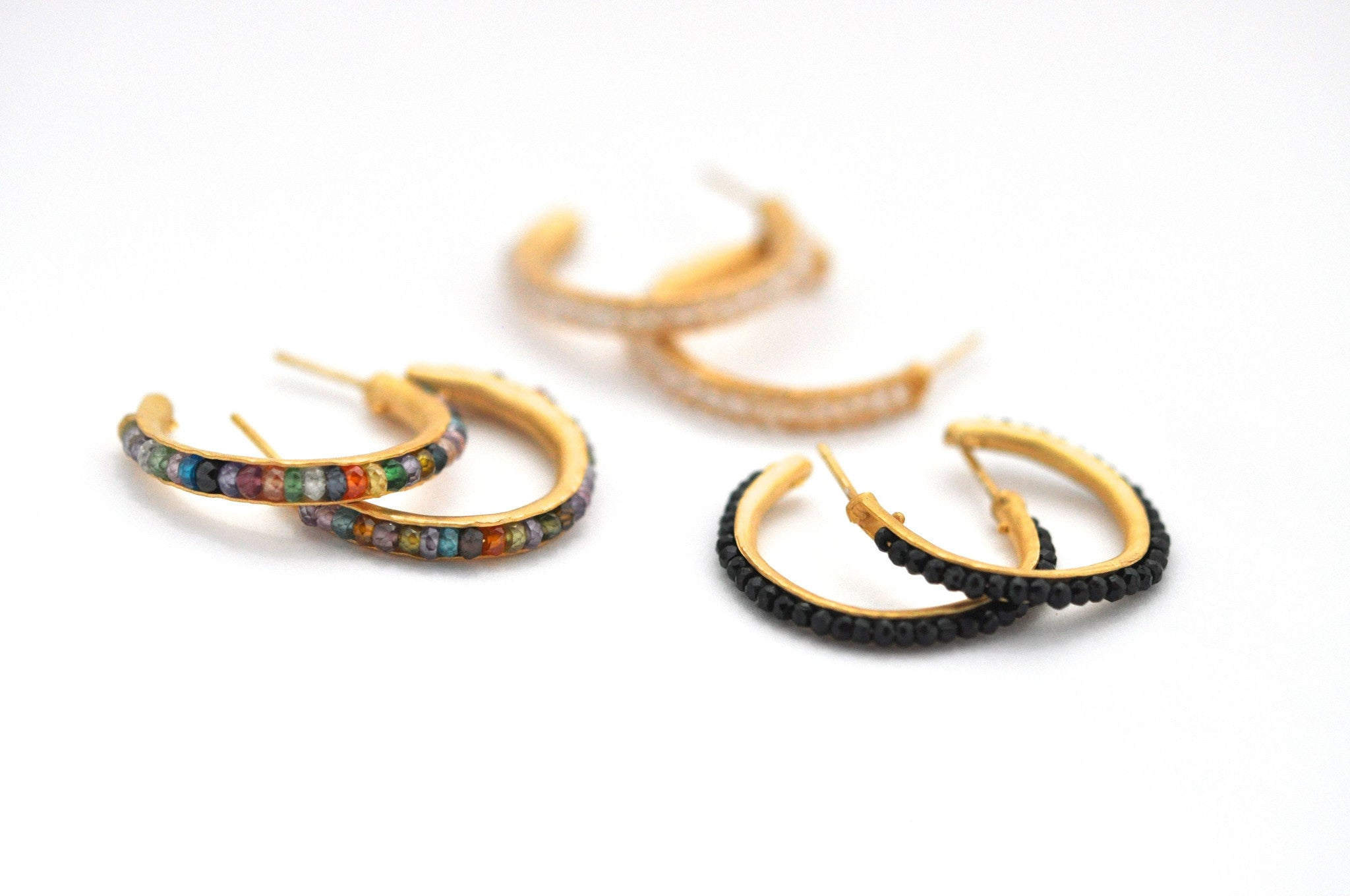 wholesale/earrings/hand forged hoops with tiny gemstones