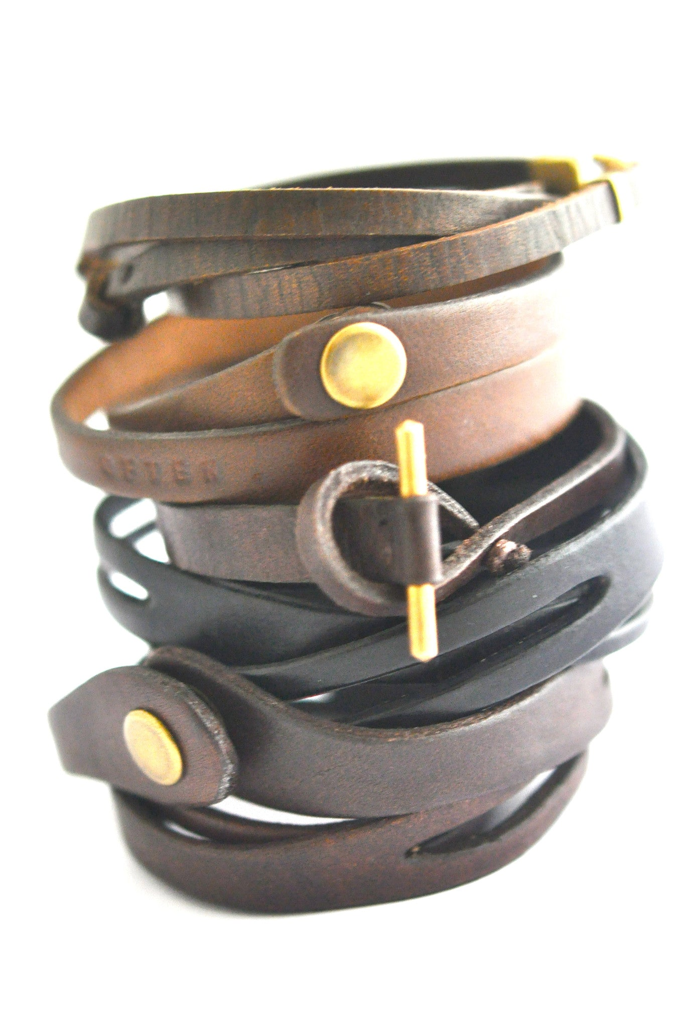 bracelet / leather unisex double wrap bracelet