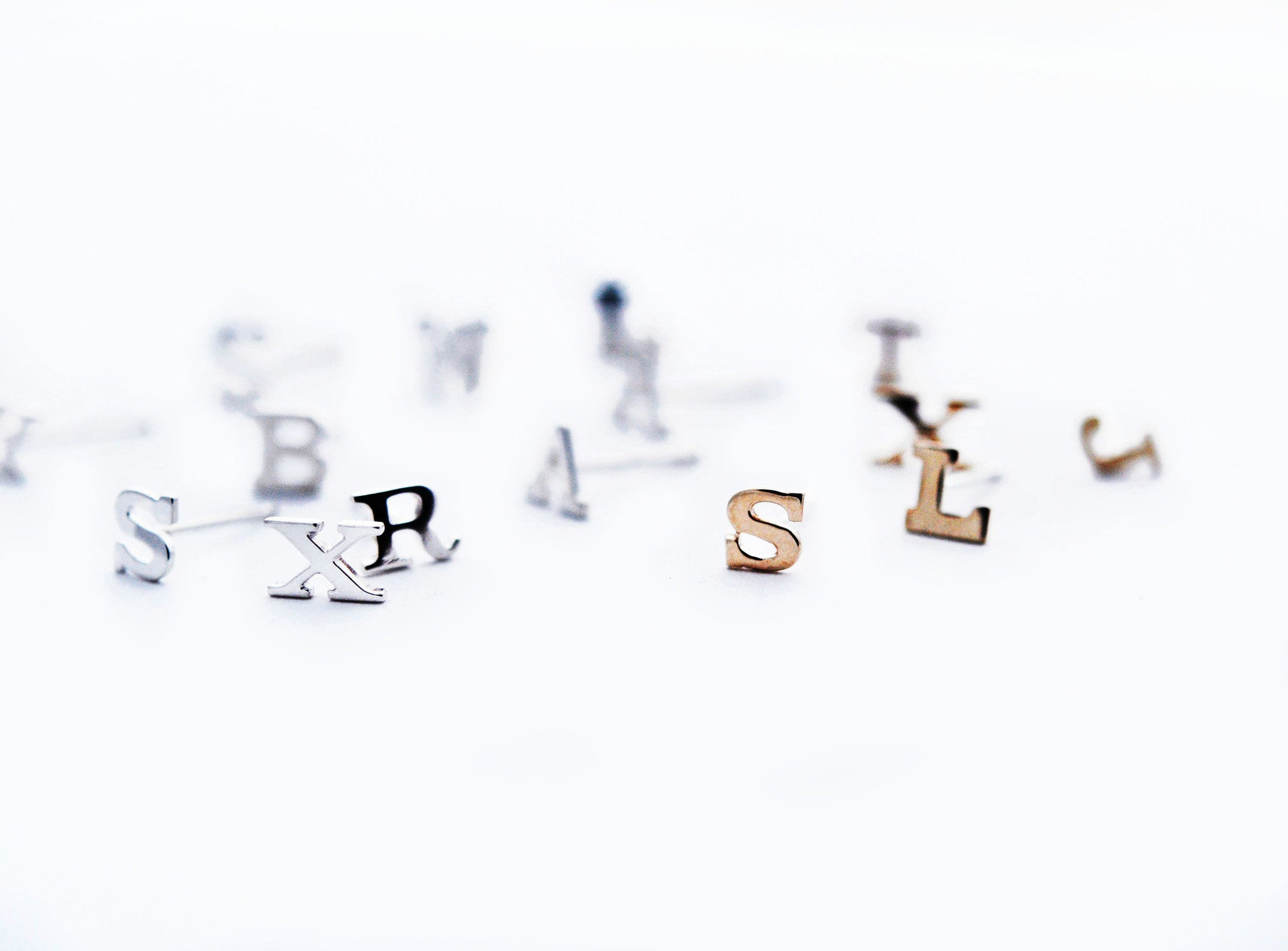 earrings / studs ALPHABET NUMBERS