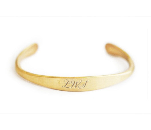 bracelet / brass unisex tapered cuff engraveable