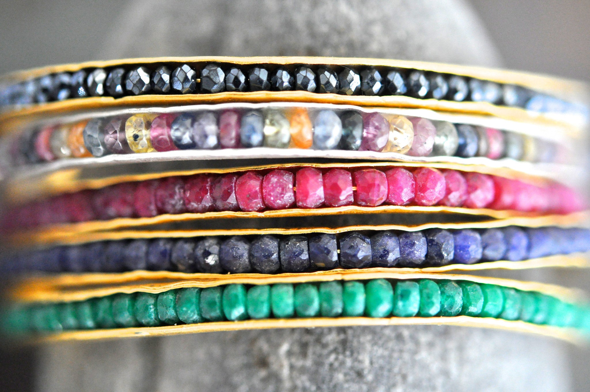 wholesale/bracelet/thin hand forged cuff with hand set tiny gemstones