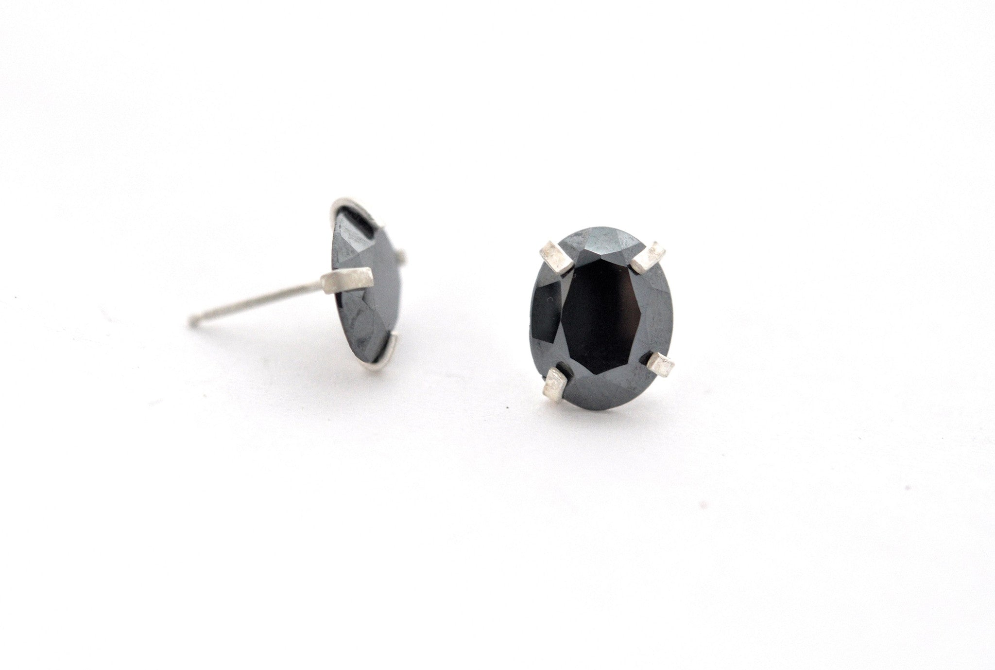 earrings / silver faceted hematite ovals post earrings