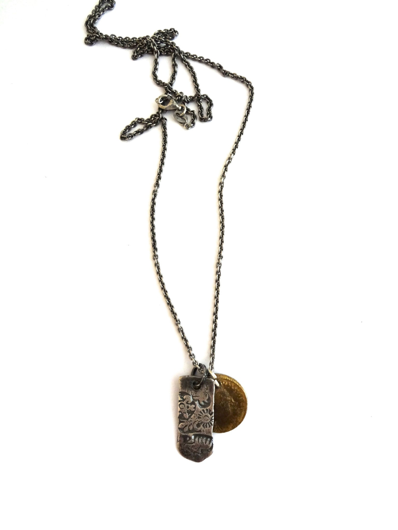 necklace /  silver THE ANCIENTS chain with coin + ingot