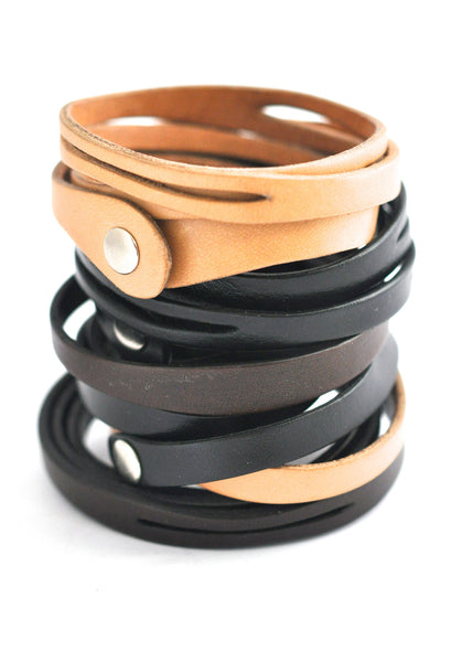 bracelet / leather unisex leather triple wrap with cutouts