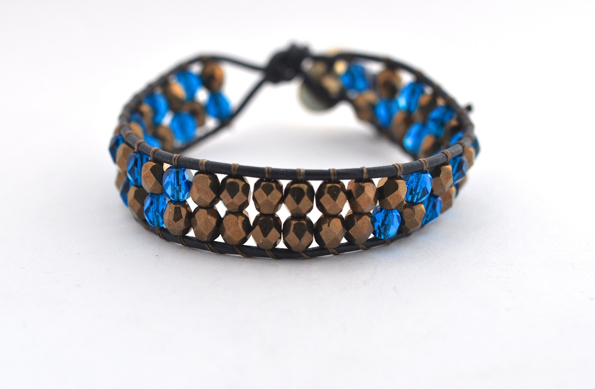 workshop / leather + bead bracelet