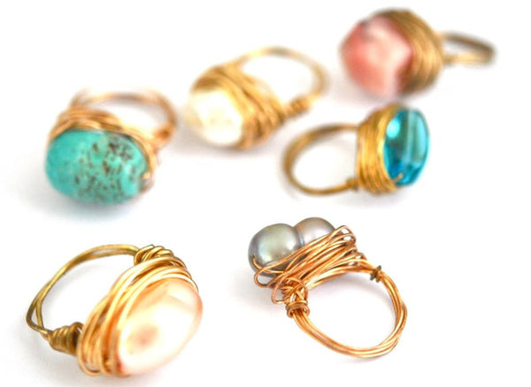 workshop / making wire + gemstone rings