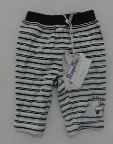 New PAMPOLINA navy striped velour trousers 3m