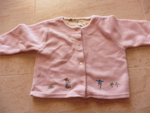 MOTHERCARE Peter Rabbit & Friends fleece pink cardigan 9-12m