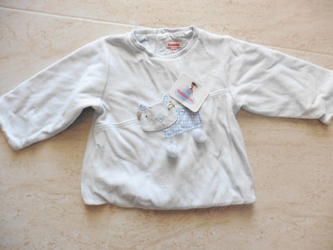 New CATIMINI baby blue padded velour top 12m