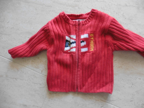 MINIMAN warm red ribbed cardigan 6m