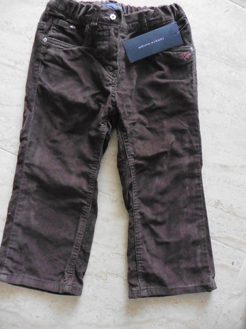 New TOMMY HILFIGER girl's brown cord trousers 3-4y