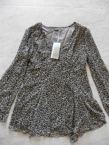 PJE PAMPOLINA leopard print swishy top fits 16y UK 8