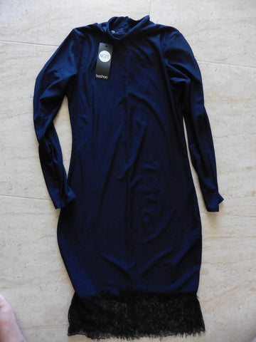 NEW BOOHOO slinky navy dress fits 8
