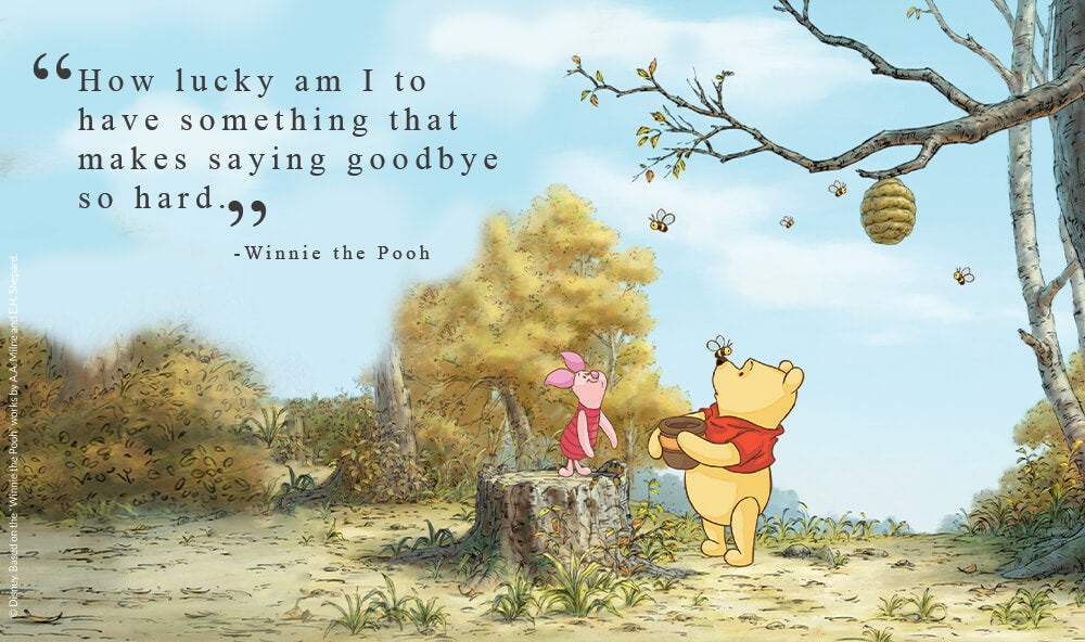 """""""How lucky am I to have something that makes saying goodbye so hard"""" - Winnie the Pooh."""