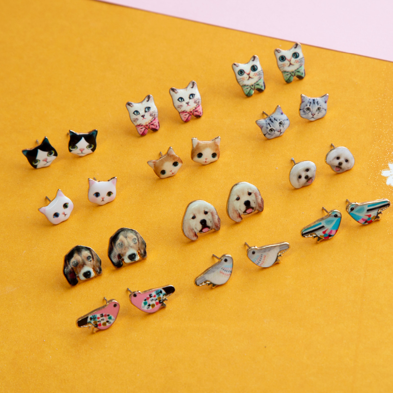 Earring Cat Grey