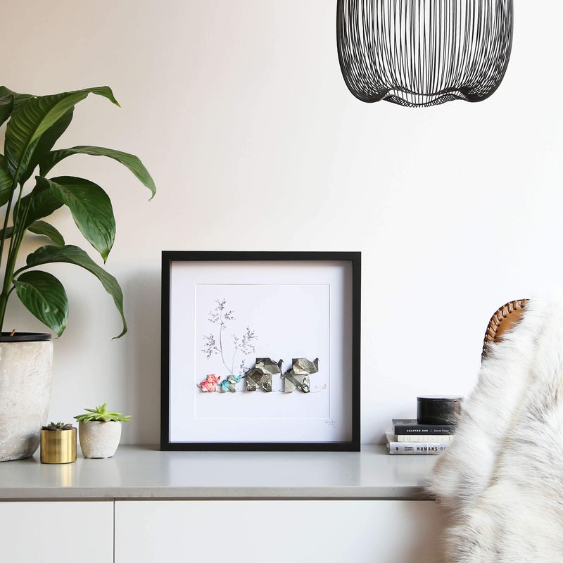 Large Black Frame Elephant Home