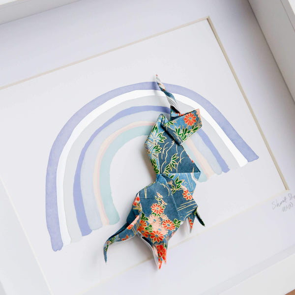Small White Frame Unicorn Blue