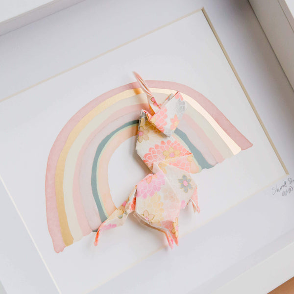 Small White Frame Unicorn Pink