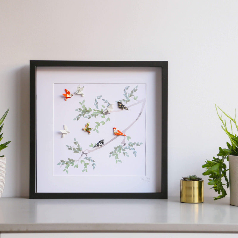Large Black Frame Birds of Paradise Green