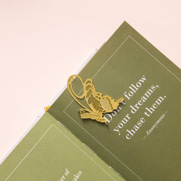 Gold Bookmarks Floral and Fauna Butterfly