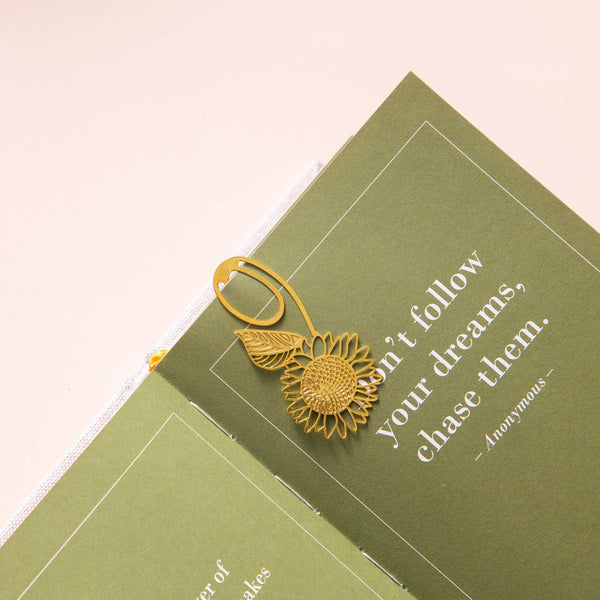 Gold Bookmarks Floral and Fauna Sunflower