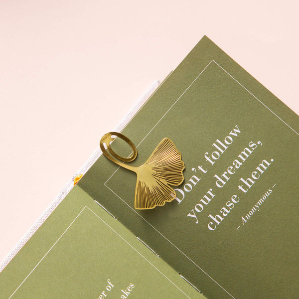 Gold Bookmarks Floral and Fauna Ginko Leaf
