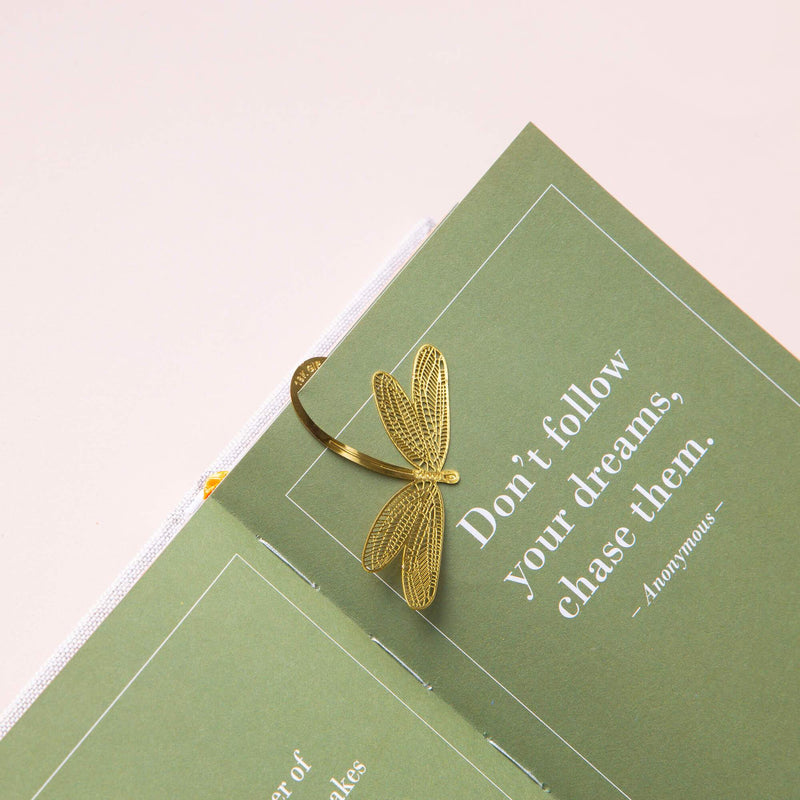 Gold Bookmarks Floral and Fauna Dragonfly
