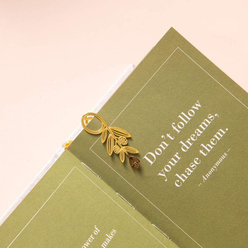 Gold Bookmarks Floral and Fauna Olive Leaf