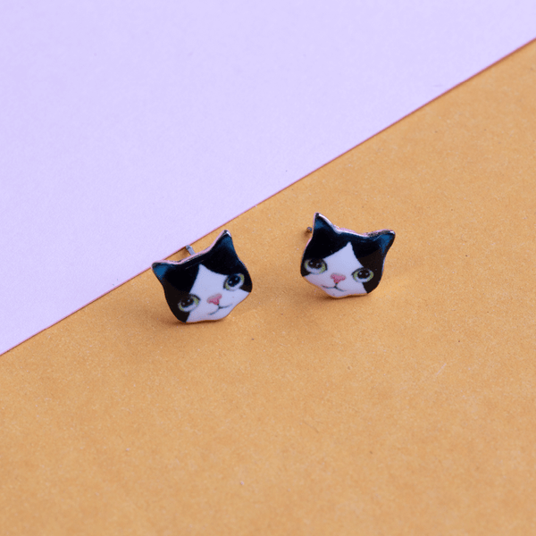 Earring Kitten Black and White