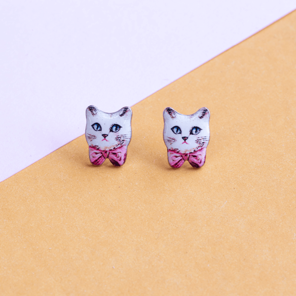Earring Cat Bow Pink