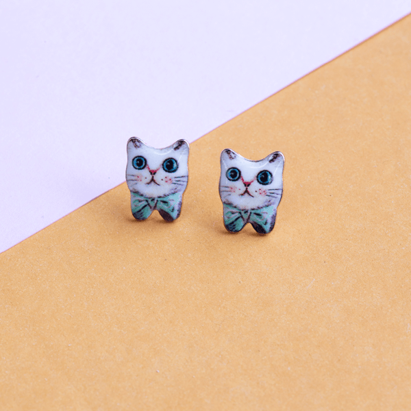 Earring Cat Bow Green