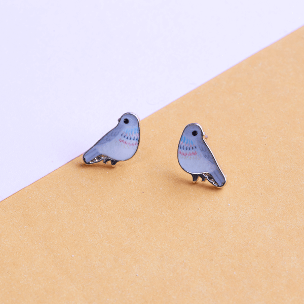 Earring Bird Grey