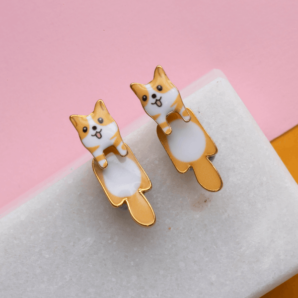 Drop Earring Dog Corgi