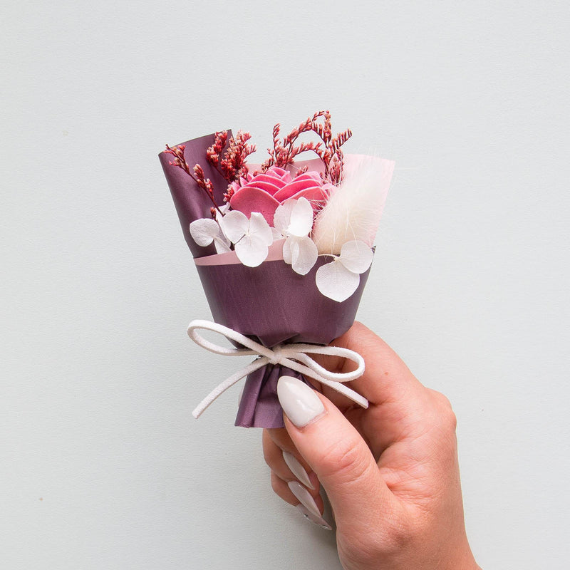 Mini Floral Bouquet Box Dark Purple