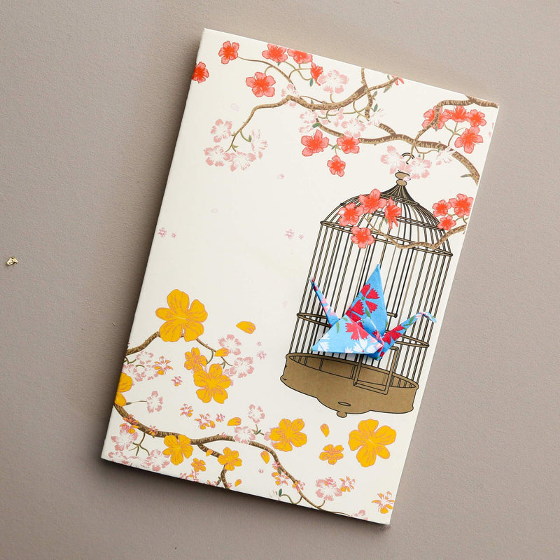 Card Crane in Cage Little Flowers Blue