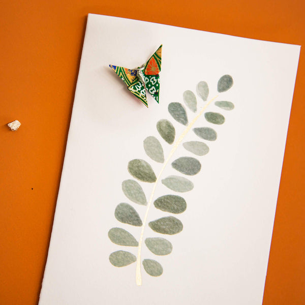 Card Watercolour Leaf Green