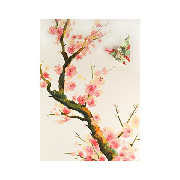 Card Watercolour Sakura Tree Pink