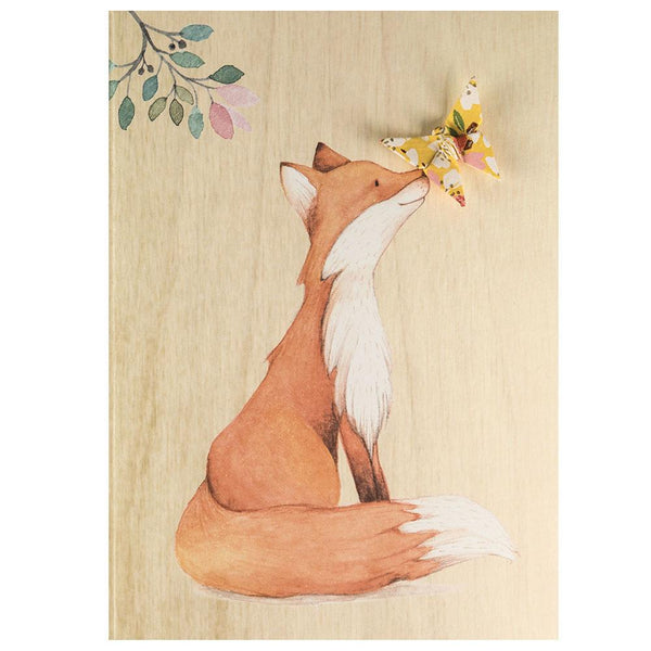 Card Wooden Fox Kiss