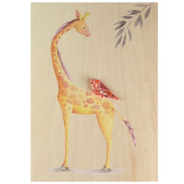 Card Wooden Happy Giraffe