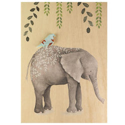Card Wooden Pretty Elephant