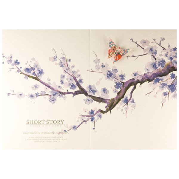 Card Watercolour Sakura Tree Purple