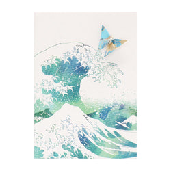 Card Watercolour Hokusai Blue