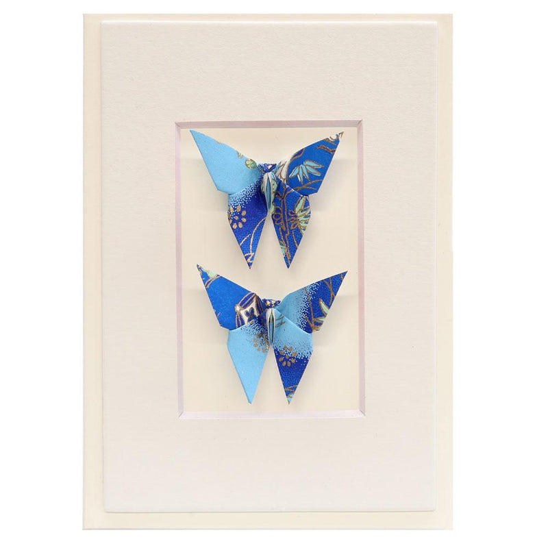 Card Twin Butterfly Diamond Crane Blue