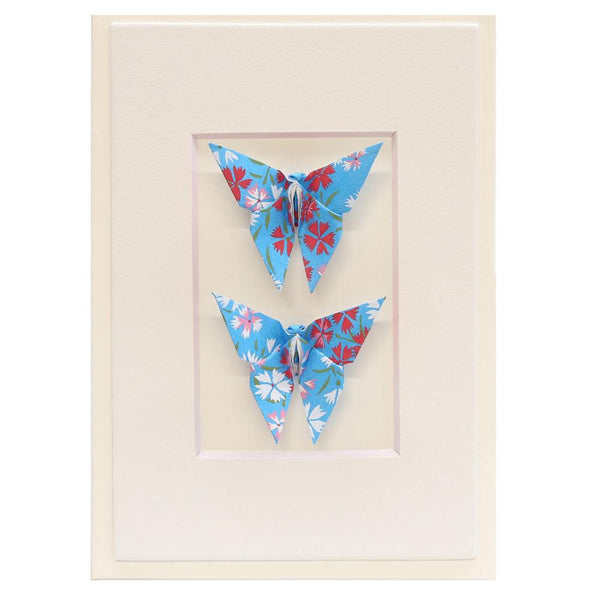Card Twin Butterfly Little Flowers Blue