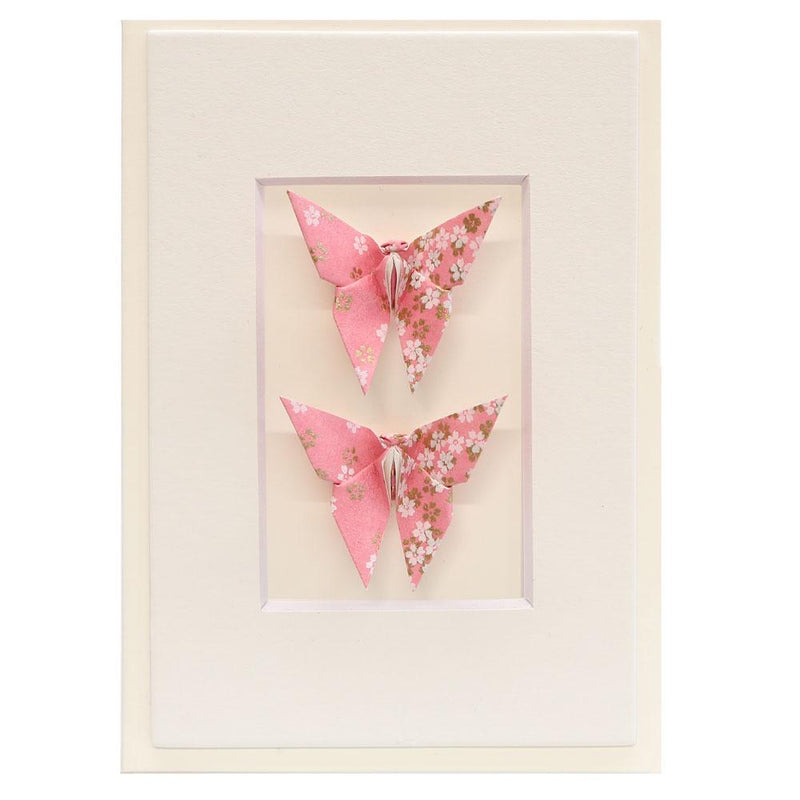 Card Twin Butterfly Little Flowers Pink