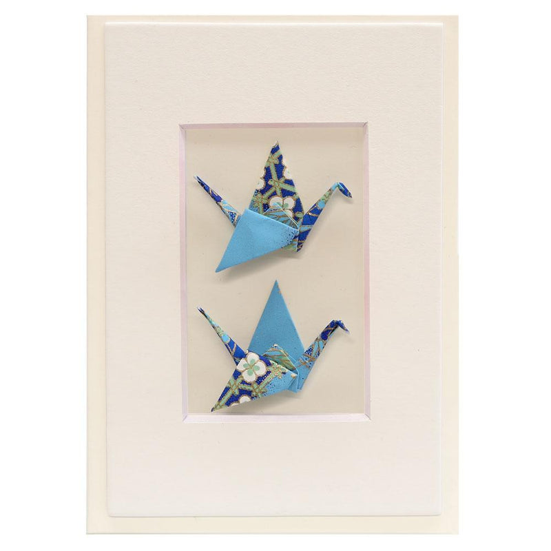 Card Twin Crane Diamond Crane Blue